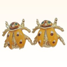 Vintage Pair of Orange Enameled Lady Bugs Scatter Pins