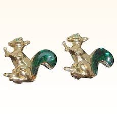 Vintage Goldtone Metal Squirrel Scatter Pins Green Rhinestone Tails