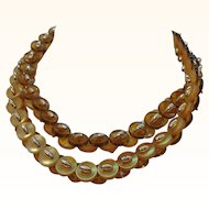 Vintage Lucite Button Necklace  Yellow & Honey Colored Buttons