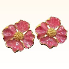 Vintage Large Pink Enameled Flower Clip on Earrings