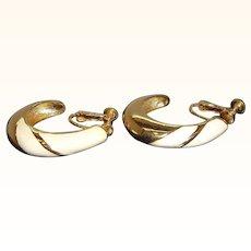 Vintage Napier Creme Enameled Goldtone Metal Hoop Adjustable Clip On Earrings