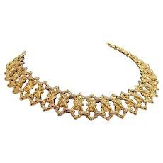 Vintage Goldtone Metal Choker Necklace Interwoven Designs