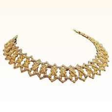 Vintage Goldtone Metal Choker Necklace Interwoven Designs