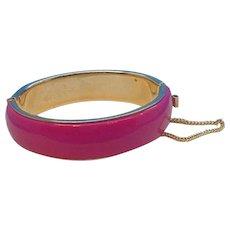 Retro Hot Pink Enameled Goldtone Metal Bangle Bracelet