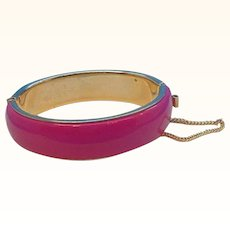Retro Hot Pink Enameled Goldtone Metal Bangle Bracelet