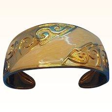 Vintage Textured  Embossed Goldtone Metal Creamy Swirled Enameled Cuff Bracelet