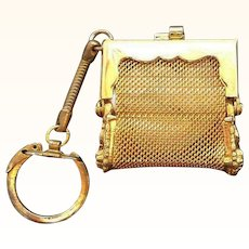 Retro Miniature Goldtone Metal Mesh Coin Purse Key Holder