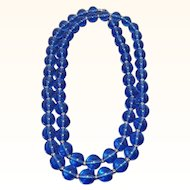 Vintage Monet Rich Blue Lucite Beaded Single Strand Necklace