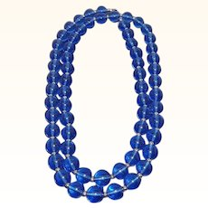 Vintage Monet Rich Blue Lucite Beaded Necklace