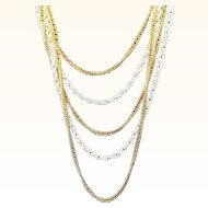 Vintage Multi Strand Layered Necklace White Enameled & Goldtone Metal Chains