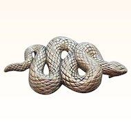 Vintage Vicenza Heavy  Textured Silvertone Metal Snake Belt Buckle