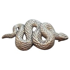 Vintage Vicenza Heavy  Textured Silvertone Metal Snake Belt Buckle