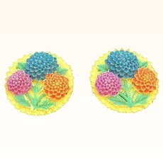Vintage Celluloid Chrysanthemum Floral Earrings