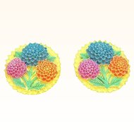 Vintage Colorful Celluloid Chrysanthemum Floral Earrings