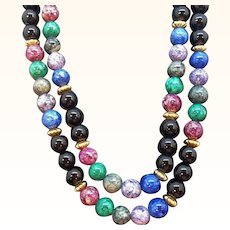 Vintage Multi-Colored Round Polished Stone Beaded Necklace