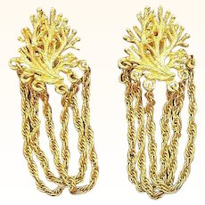 Vintage Textured Goldtone Metal Dangle Chains Clip on Earrings
