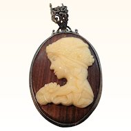 Vintage  Thermoset Plastic Cameo of Lady on Wood Pendant Necklace