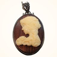 Vintage Large Thermoset Plastic Cameo on Wood Pendant Necklace