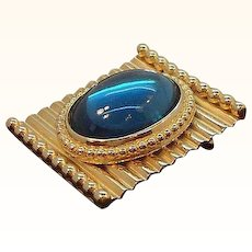 Vintage Rectangular Textured Oval Blue Cabochon Pin