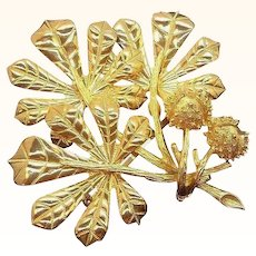 Vintage Textured Goldtone Metal Bouquet of Leaves Signed Weiss