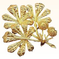 Vintage Weiss Textured Goldtone Metal Bouquet of Leaves