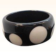 Vintage Chunky Black and White Lucite Polka Dot Bangle Bracelet