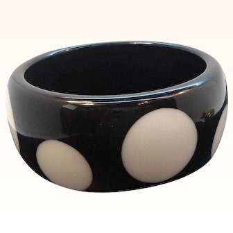 Vintage Chunky Black and White Lucite Polka Dot Bangle Bracelet