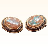 Vintage Copper Earrings Confetti Glitter Lucite Center Stones
