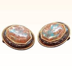Vintage Copper Earrings Confetti Glitter Lucite Center Stones