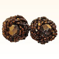 Vintage Vogue Coppertone Glass Beaded Clip on Earrings