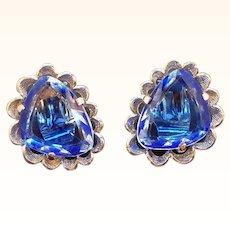 Vintage Elizabeth Morrey Blue Unfoiled Open Back Glass Stones Clip on Earrings