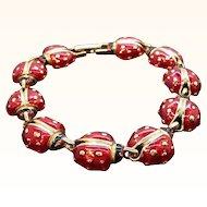 Vintage Red Enameled Goldtone Metal Ladybug Bracelet