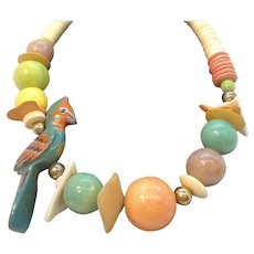 Vintage Huge Colorful Wooden Shell Beaded Dimensional Parrot Necklace