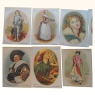 Cigarette Silks Lot of 10  Men Women & Children Scenes Portraits