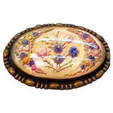 Vintage Oval Shaped Goofus Glass Pin Violets & Flowers