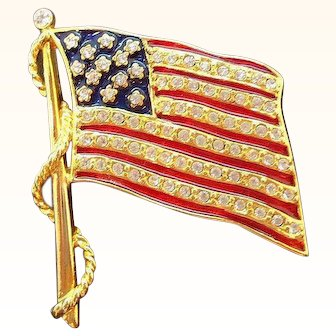 Vintage Patriotic Enameled Rhinestone Flag Pin  JBK Kamrose & Cross