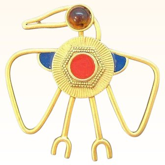 Vintage Bold Abstract Style Enameled Thunderbird Brooch