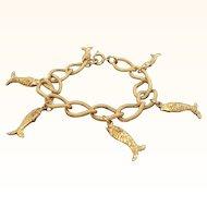 Vintage Textured Goldtone Metal Dangle Fish Charm Bracelet
