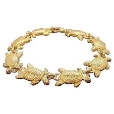 Vintage Textured Goldtone Metal Turtles Charm Bracelet