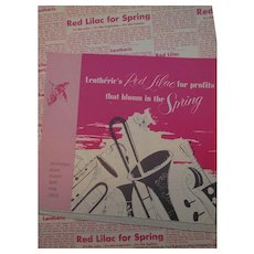 Lentherie's Red Lilac  for Spring Promotional Advertising  Pamphlet 1953  Suitable for Framing
