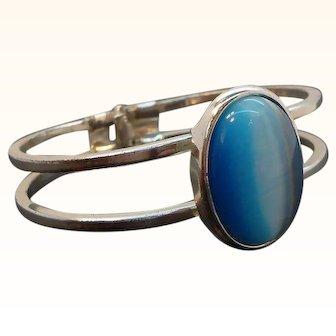 Vintage Oval Blue Moonglow Lucite Cabochon Silvertone Clamper Bracelet