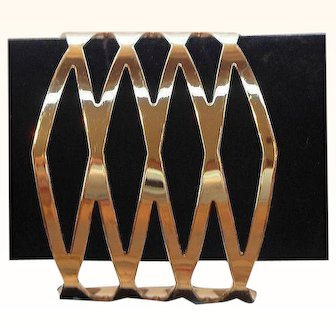 Vintage Shiny Goldtone Metal Geometric Triangular Designs Cuff Bracelet