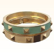Vintage Pair Goldtone Metal Seafoam Green & Creme Bangle Bracelets