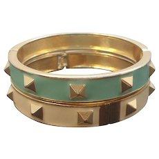 Vintage Pair Goldtone Metal Seafoam Green & Creme Bangle Bracelets