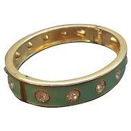 Vintage Seafoam Green Enameled Clear Rhinestones Oval Shaped Bangle Bracelet