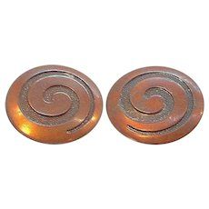 Vintage Round Copper Metal Clip on Earrings
