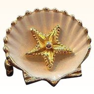 Vintage Small Dimensional Enameled Sea Shell Pin with Starfish