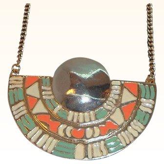 Vintage Southwest Style Colorful Enameled Goldtone Metal Pendant Necklace