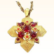 Vintage Textured Dimensional Geometric Layered Red Rhinestone Pendant Necklace