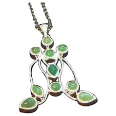 Vintage Abstract Shaped Green Glass Cabochon Pendant Necklace